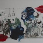 Kroeg 1 Acrylinkt/papier 48/87cm incl passe-partout en lijst