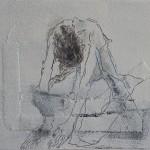 Woman( naar Jansem), Acryl/ink/ mixed media/canvas 18/24cm