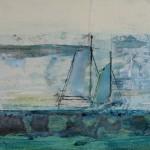 Boats, Acryl-ink markers/mixed  media/canvas 20/50cm